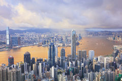 Urban architecture in Hong Kong from peak Stock Photography