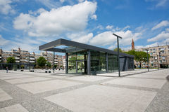 Urban architecture style undeground entrance under the white clods sky Stock Photo