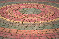 Urban area. The circles are made of bricks of different colour stock images