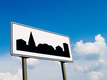 Urban area. Road sign showing the entrance to the urban area Stock Image
