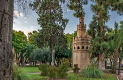Ancient tower in city park, Murcia stock image
