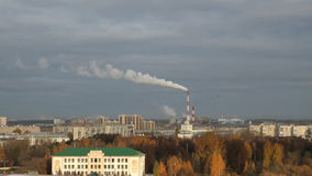 Urban area and thermoelectric plant in the fall. Kazan, Russia. 22-10-2013 stock footage