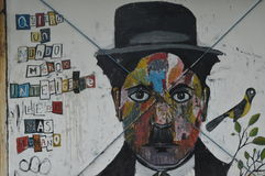 Urban Art : Chaplin multi-colored stock image