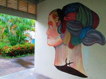 Urban Art . Crying. Painting on a wall in Puerto Ordaz , Venezuela , South America , shows a part of the human body, in this case the head of a woman , which is stock images