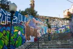 Urban art: Graffiti in Calçada (sidewalk) do Lavra, Lisbon, Portugal Royalty Free Stock Photo