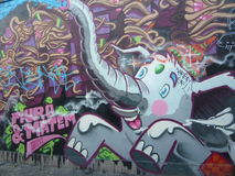 London Urban  Street Art East London Elephant Graffiti Royalty Free Stock Photography
