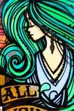 Urban art graffiti of pretty woman with long hair Stock Photo