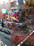 Urban Art From The High Line. Colourful, graffiti artwork brightens an urban city scape, photographed from the High Line in New York city Stock Photography