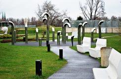 Urban art. Art, urban art installation, park, science park, the Copernicus Science Centre stock photo