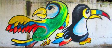 Urban art. macaw and toucan royalty free stock photo
