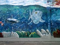 Urban ARt. Marine life. stock photo