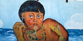 Urban Art . native girl. royalty free stock image