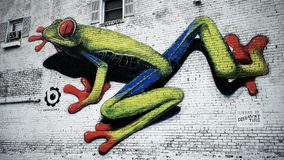 Urban Art. Painting of a colorful frog on the side of a building.  Urban art at its fullest and most beautiful Stock Images
