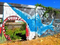Urban ARt. shark. stock image