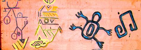 Urban Art . South American aboriginal symbols. royalty free stock images