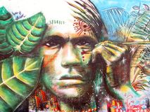 URBaN Art. South American Native Man. royalty free stock photography