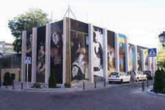 Urban art in Torrejon. TORREJON DE ARDOZ, MADRID, SPAIN - SEPTEMBER 30: replicas of paintings by famous artists performed on a wall in Torrejon de Ardoz. Picture Stock Photos