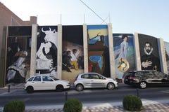 Urban art in Torrejon. TORREJON DE ARDOZ, MADRID, SPAIN - SEPTEMBER 30: replicas of paintings by famous artists performed on a wall in Torrejon de Ardoz. Picture Royalty Free Stock Photo