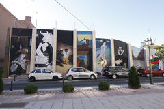 Urban art in Torrejon. TORREJON DE ARDOZ, MADRID, SPAIN - SEPTEMBER 30: replicas of paintings by famous artists performed on a wall in Torrejon de Ardoz. Picture Royalty Free Stock Image