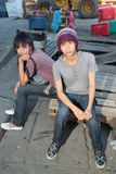 Urban Asian youth hanging out Royalty Free Stock Images