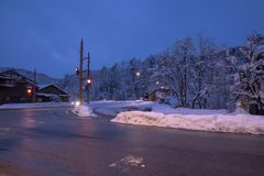 Urban atmosphere in the evening in winter background.  royalty free stock photo
