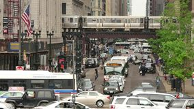 Urban Atmosphere on the Streets of Chicago Downtown