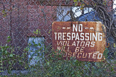 Urban Automotive Blight IX No Trespassing Royalty Free Stock Photos