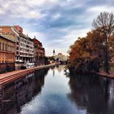 Urban autumn by the river Royalty Free Stock Photos