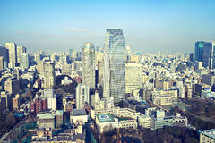Urban background. View from Tokyo Tower of the Mori Building and Forest Tower (Atago Green Hills) and surrounding area Stock Image