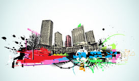 Urban background. Vector illustration of urban background with  colorful grunge Design elements Stock Image