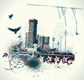 Urban background. Vector illustration of urban background with grunge stained Design elements Royalty Free Stock Photo