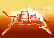 Urban background. Big City - Grunge styled urban background in graffiti style Vector illustration stock illustration