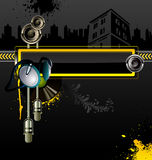 Urban background. Urban vector background with headphones, microphone and loudspeaker Royalty Free Stock Photography