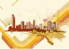 Urban background. Vector illustration of retro style summer urban background Stock Images