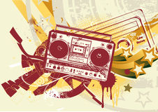Urban background. Vector illustration of Grunge styled urban background in graffiti style with cool Boom box Royalty Free Stock Photos