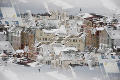Urban background. Abstract urban background of the town in winter Royalty Free Stock Photo