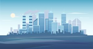Urban background of cityscape with the factory. City skyline vector illustration. Blue city silhouette. Cityscape in stock image