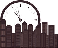 Urban background with clock Royalty Free Stock Photo