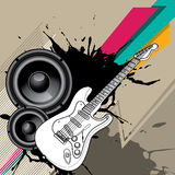 Urban background with electric guitar. Vector illustration Royalty Free Stock Photos