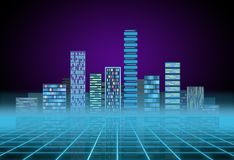 Urban background: futuristic hi-tech city in neon glow. Synthwave, retrowave, abstract metropolis and primitive. Megalopolis concept royalty free stock images