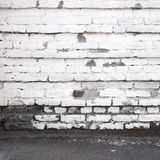 Urban background interior with old white brick wall Royalty Free Stock Photo