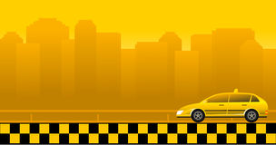 Urban background with taxi car Royalty Free Stock Image