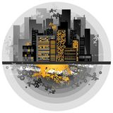 Urban background, vector. Urban background with many different black  circles, vector illustration Royalty Free Stock Photography