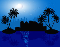 Urban background - vector. Background with palms, see and moon - vector Royalty Free Stock Photos