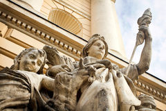 Urban Baroque sculptures on the walls Royalty Free Stock Image