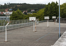 Urban basketball court. Empty urban basketball court in Santiago de Compostela (Spain Royalty Free Stock Photos