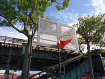Urban Basketball, Hoop, Backboard, Astoria, Queens, NYC, NY, USA. Public basketball court at Hoyt Playground in Astoria, Queens, New York City, USA. In the stock photos