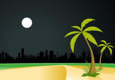 Urban Beach By Night Royalty Free Stock Photo