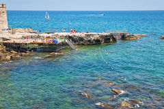 Urban beach in Syracuse, Italy Royalty Free Stock Photo