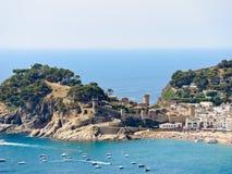Urban beach and Vila Vella in town Tossa de Mar Royalty Free Stock Image